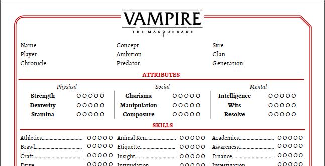 Artikel Graphik - Ausschnitt des Charakterbogen Version 2 von Markus W.