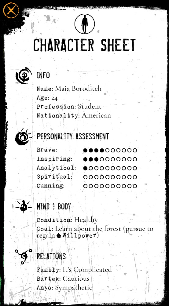 Werewolve: The Apocalypse - Heart of the Forest- Screenshot Character Sheet