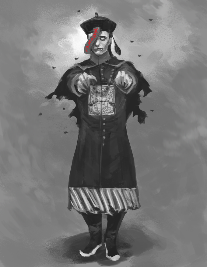 Jiangshi - Hüpfender Vampir - Artwork von Steven Wu für den Jiangshi Blood in the Banquet Hall Kickstarter