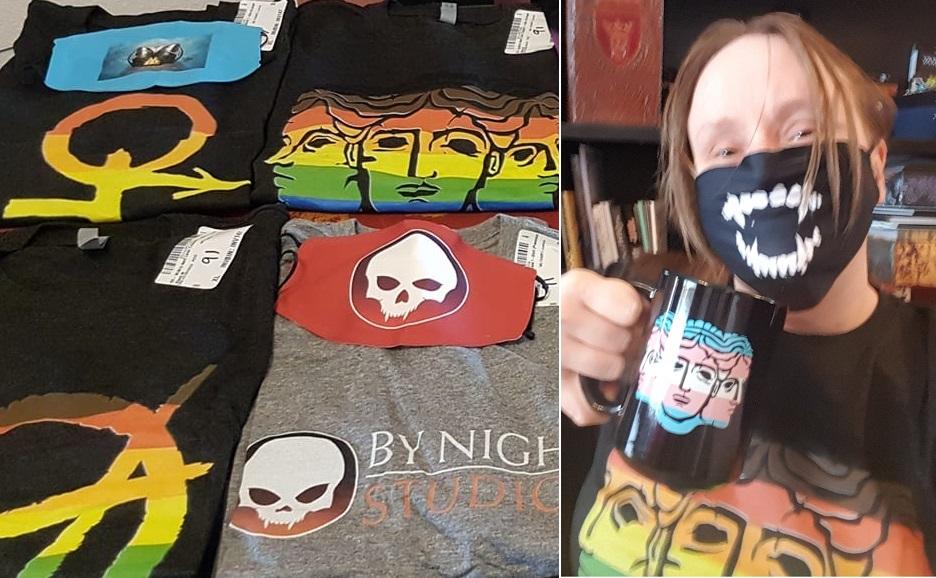 T-Shirts Anarchen, Brujah, Hecata und By Night sowie ich im Hecata T-Shirt