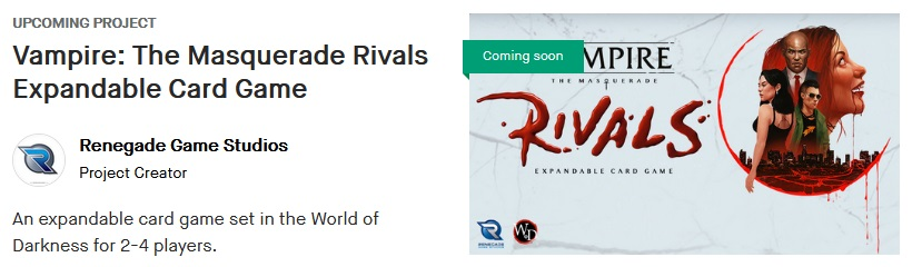 Vampire The Masquerade: Rivals - Bild der Kickstarter Notification