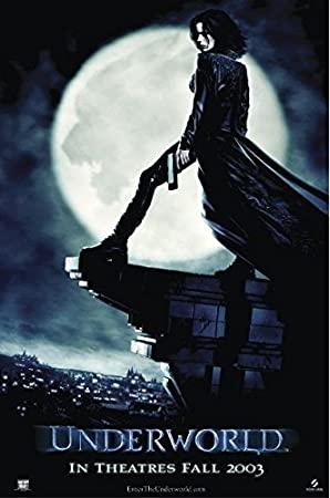 Underworld 1 Poster - Kate auf einem Erker in Leder