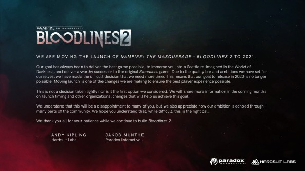 Vampire The Masquerade - Bloodlines 2 - Ankündigung der Verschiebung ins Jahr 2021