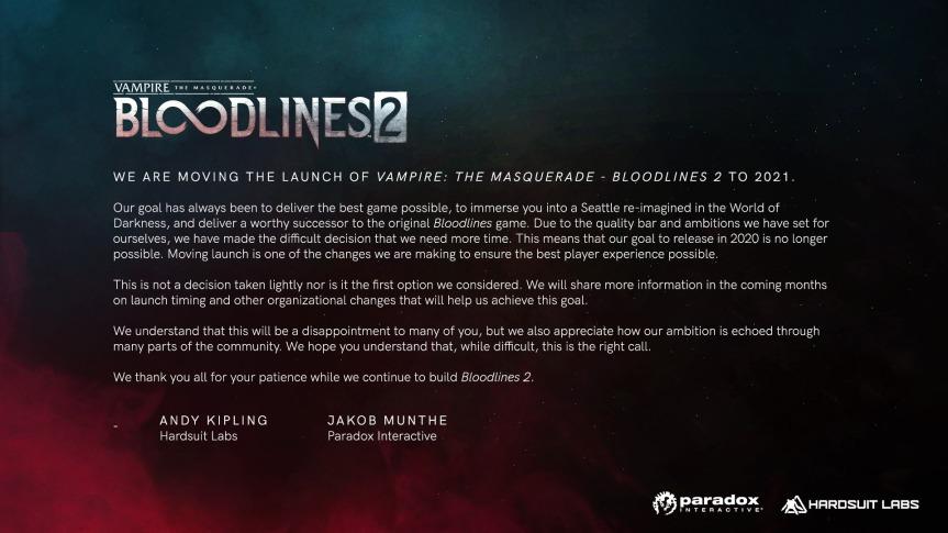 Terminverschiebung: Bloodlines 2 Veröffentlichung 2021