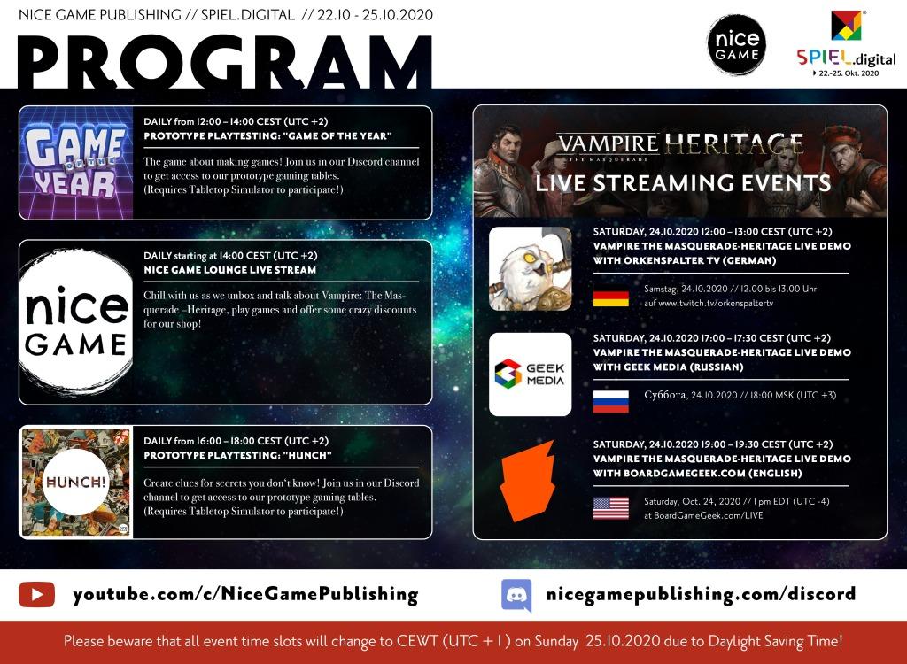 Programübersicht von NiceGames zu ihren Vampire Events