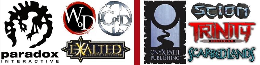Paradox Logo WoD, CofD, Exalted | Onyx Path Logo Scion, Trinity, Scarred Lands