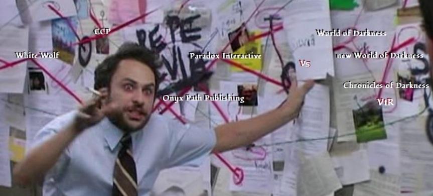 Verschwörungs Meme - Mit WoD Thema - Manischer Mann vor einer Wand mit vielen Linien und Blättern