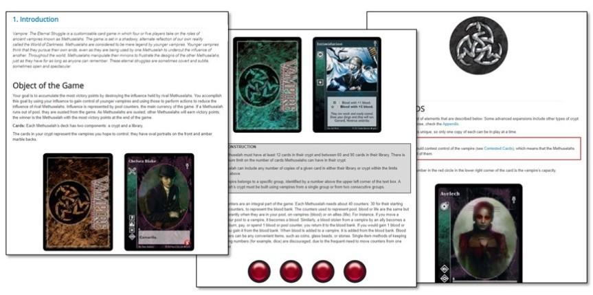 Vampire: The Eternal Struggle – Regelbuch Online, Karten auf DTRPG und Die 5.te Edition aufLatein