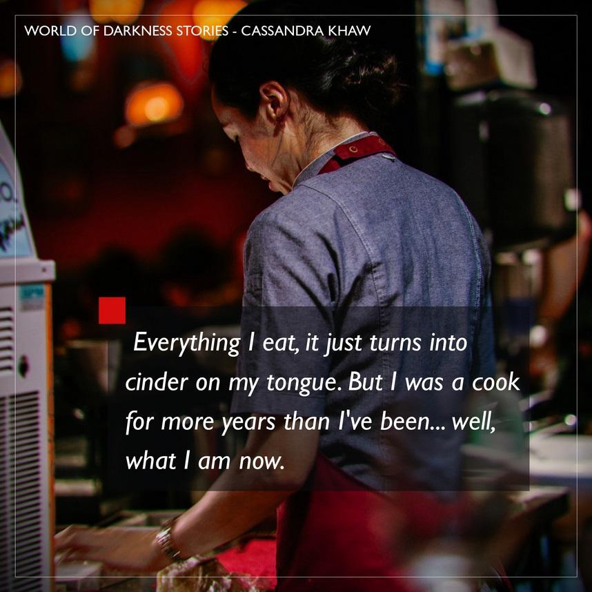 World of Darkness - Stories - 17 - Author Cassandra Khaw - Frau an einem Essenstands mit dem Rücken zum Betrachter gewandt