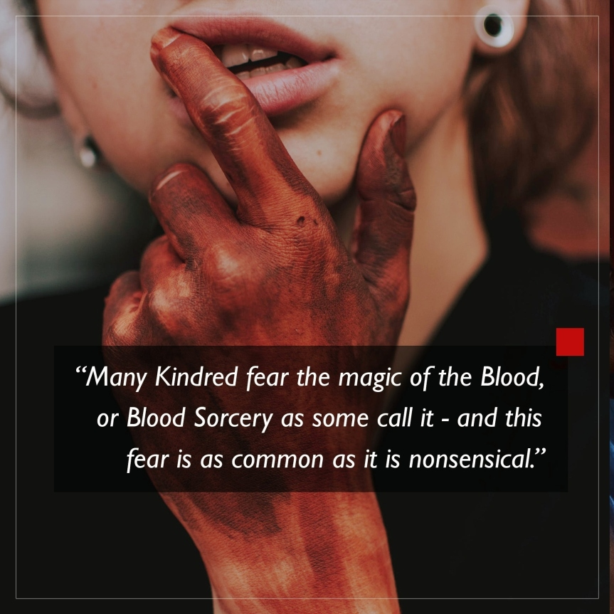 World of Darkness - Stories - 18 - Frau mit rötlich gefärbter Hand, fasst sich an die Lippen