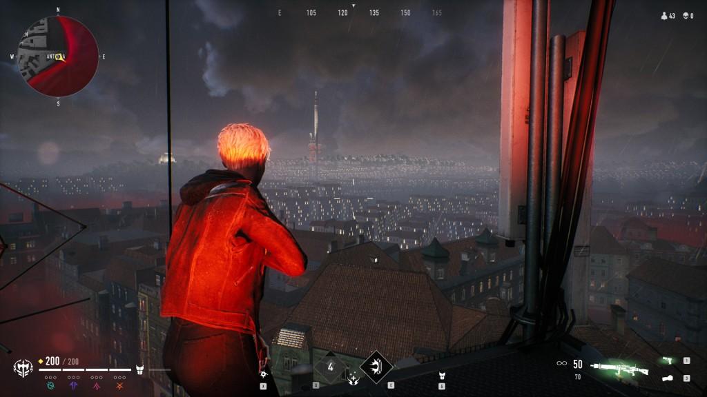 Bloodhunt - Nicht spielbares Gebiet von der Antenne weg, mit Turm und links einem leuchtenden Kuppelding