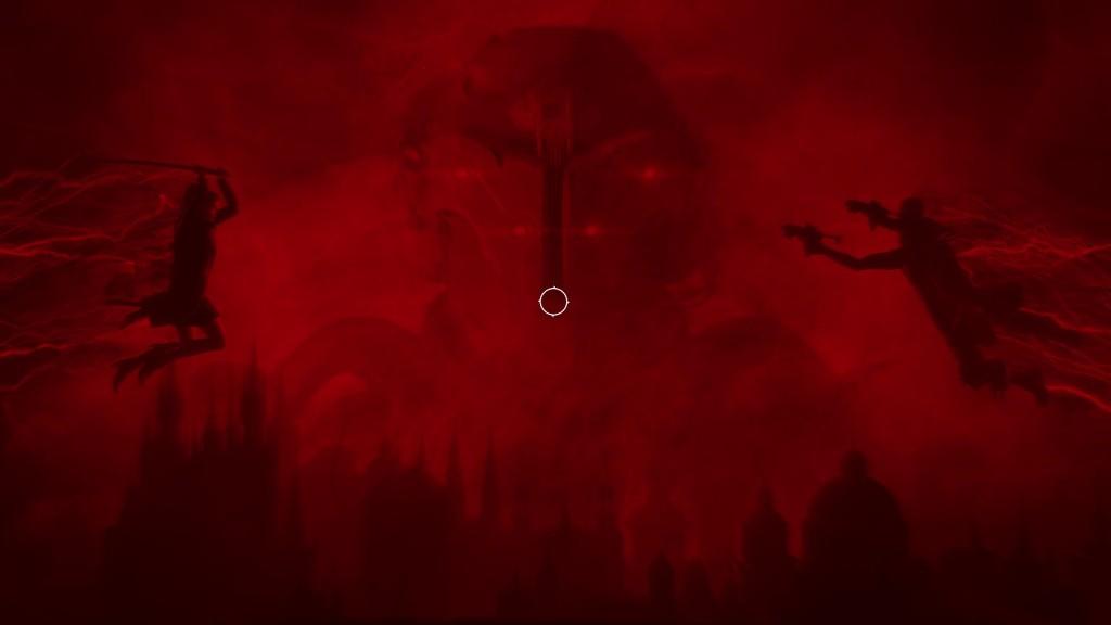 Bloodhunt - Letzte Szene der Anfangsanimation - Weibliche Figur mit Katana springt auf männliche Person mit zwei Pistolen zu, während im Hintergrund ein Soldat der Entity zu sehen ist, und darunter sieht man die Silhouette Prags