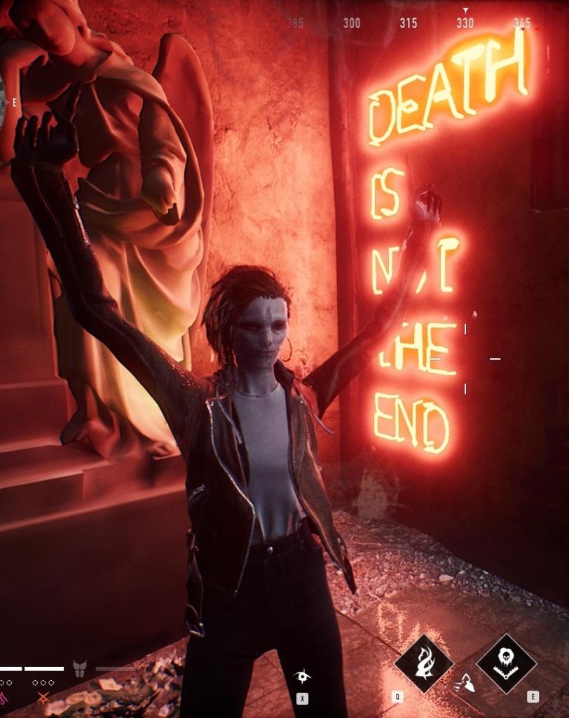 """Bloodhunt - Nosferatu vor """"Death is Not the End"""" Schriftzug"""