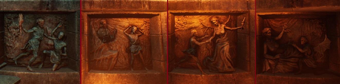 Bloodhunt - Reliefs, welche den Kainmythos abbilden