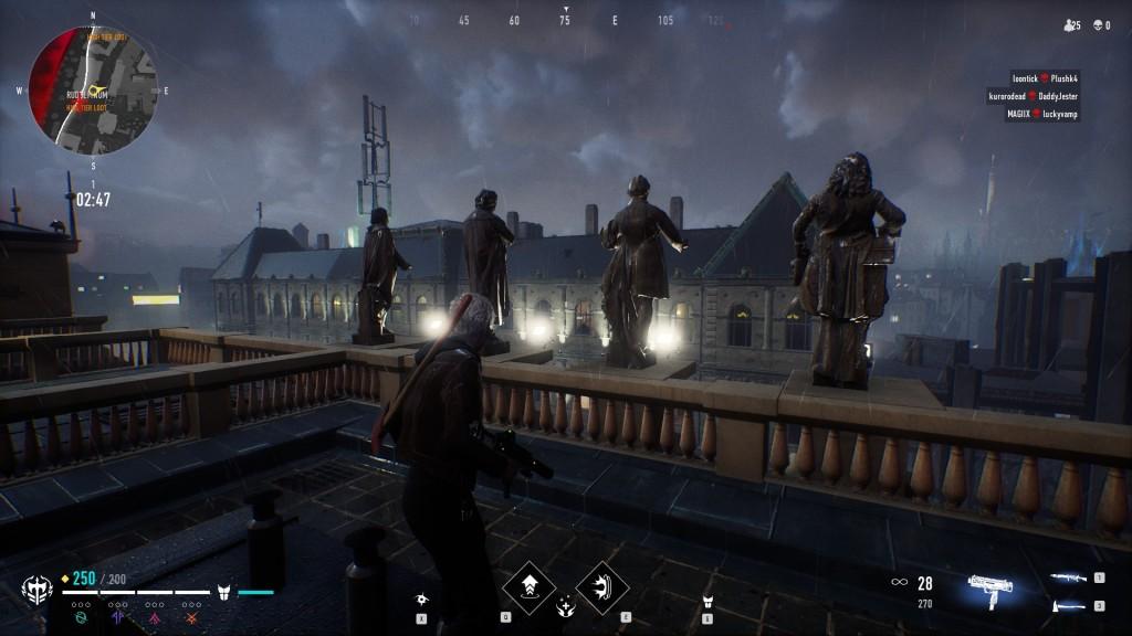 Bloodhunt - Stadt - Rudolfinium, Blick auf die Statuen zur Stadt hin, hintenrechts ist der Fernsehturm / die Antenne