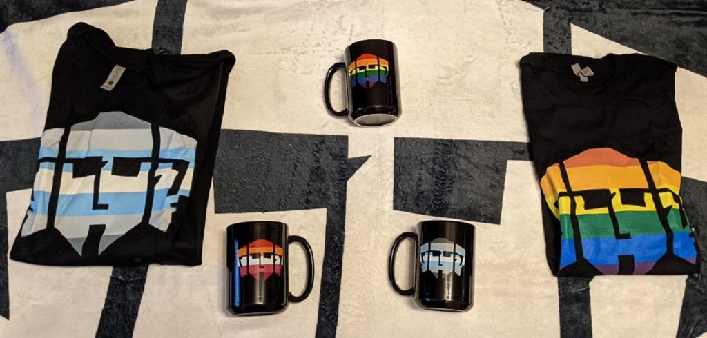 Vampire: The Masquerade - Hecata Merchandise - 2 TShirts (Flaggen Demi-Male, LGBT), 3 Tassen (Flaggen: Lesbian, LGBT, DemiMale) auf einem Hecata Tuch