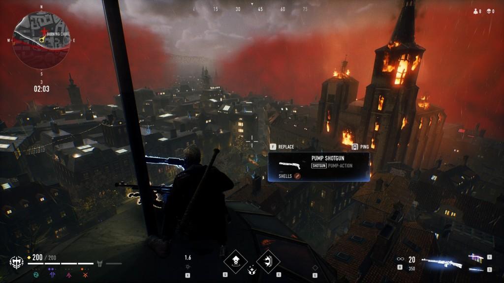 Bloodhunt - Stadt - Blick auf die brennende Kirche