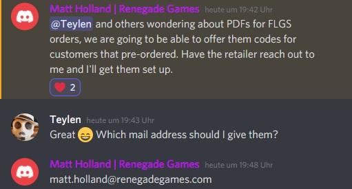 Renegades Rückmeldung zu der Frage nach PDFs für FLGS