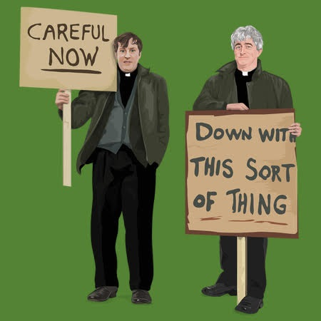 Father Ted - Channel4 Sitcom - Father Ted and Dougal Protest
